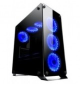 POWERTECH Gaming case PT-902, full tempered glass, 4x Dual ring RGB fans