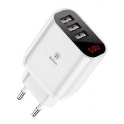 BASEUS φορτιστής τοίχου CCALL-BH02, 3x USB, 3.4A, με οθόνη, λευκό
