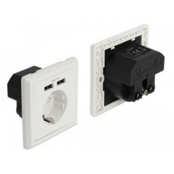 DELOCK Αντάπτορας ρεύματος 11471, 2x USB, 2.4A, λευκός