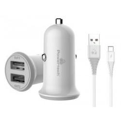 POWERTECH Φορτιστής αυτοκινήτου & καλώδιο Type-C PT-773, 2x USB, 3.4A
