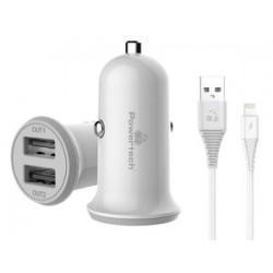POWERTECH Φορτιστής αυτοκινήτου & καλώδιο Lightning PT-774, 2x USB, 3.4A