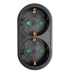 POWERTECH αντάπτορας ρεύματος PT-821, 2x schuko, 250V 16A, μαύρος