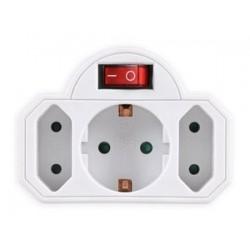 POWERTECH αντάπτορας ρεύματος PT-826, 1x schuko, 2x euro, 16A, λευκός