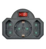 POWERTECH αντάπτορας ρεύματος PT-827, 1x schuko, 2x euro, 16A, μαύρος