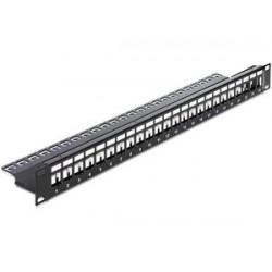 "DELOCK Keystone Patch Panel, για 19"" rack, 24 ports, μαύρο"