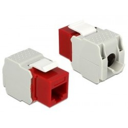 DELOCK Keystone Module RJ45 female, Cat.6 UTP, κόκκινο