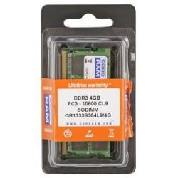 GOODRAM Μνήμη DDR3 SODIMM GR1333S364L9S-4G, 4GB, 1333MHz, PC3-10600, CL9